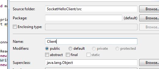 Hello World for Socket Programming using Java : Server & Client